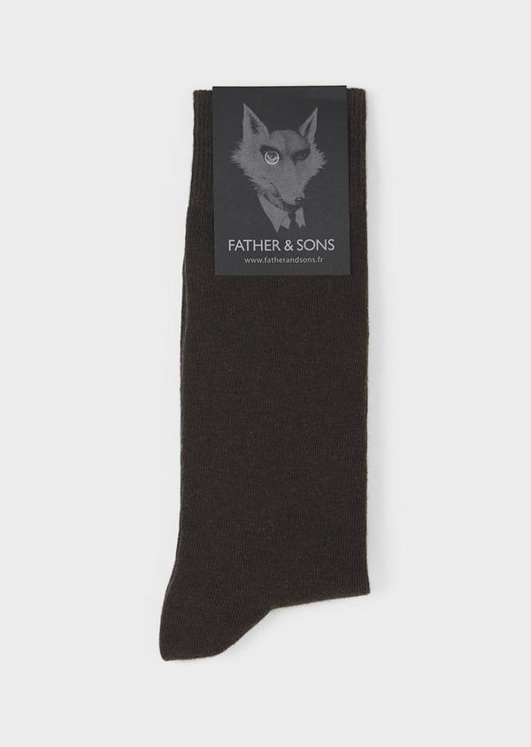 Chaussettes en coton mélangé uni marron foncé - Father and Sons 7983