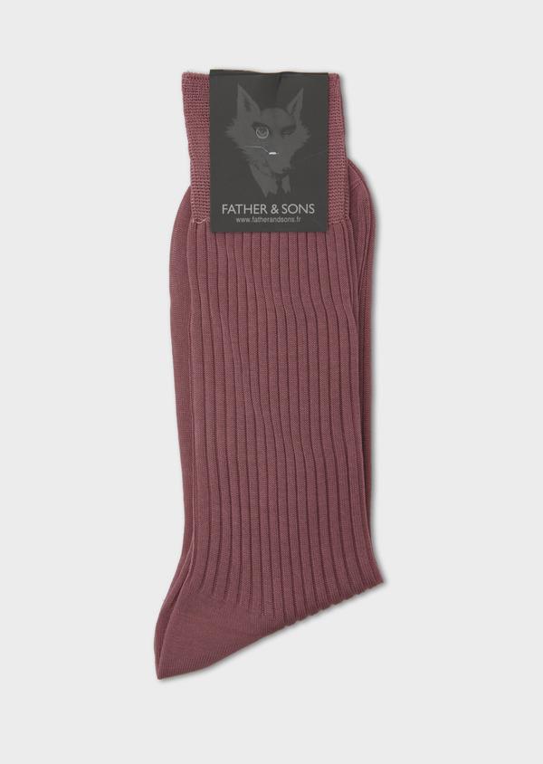 Chaussettes en coton fil d'Ecosse uni rose foncé - Father and Sons 7995