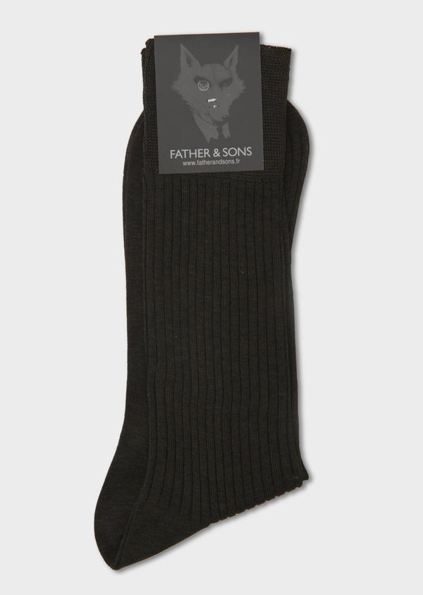 Chaussettes en coton fil d'Ecosse uni marron clair - Father and Sons 7999