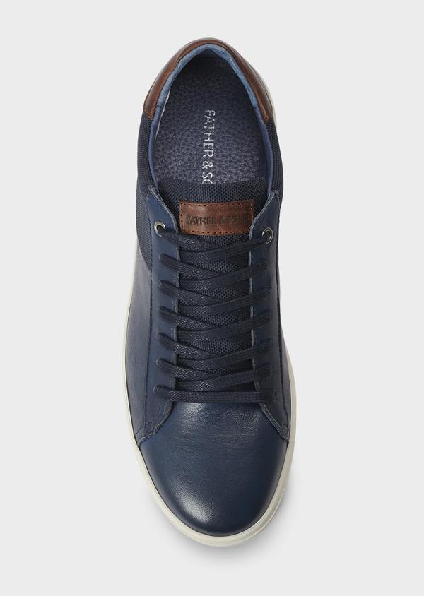 Baskets basses en cuir bleu marine - Father and Sons 5017