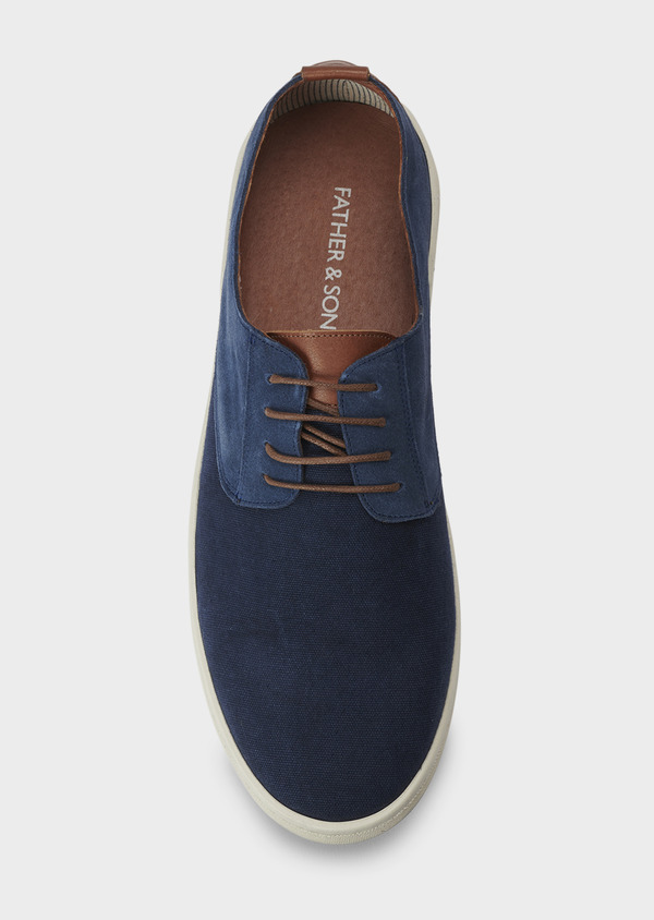 Baskets basses en cuir suede bleu marine - Father and Sons 5027