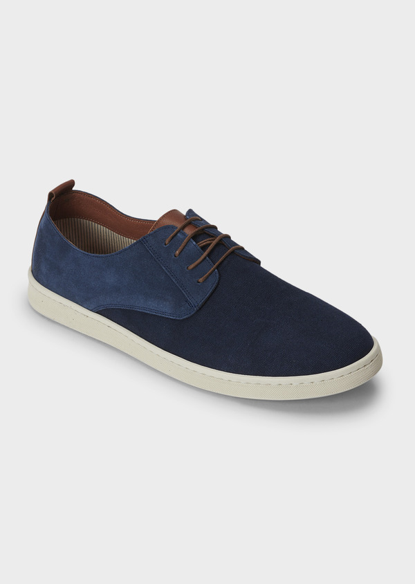 Baskets basses en cuir suede bleu marine - Father and Sons 5026
