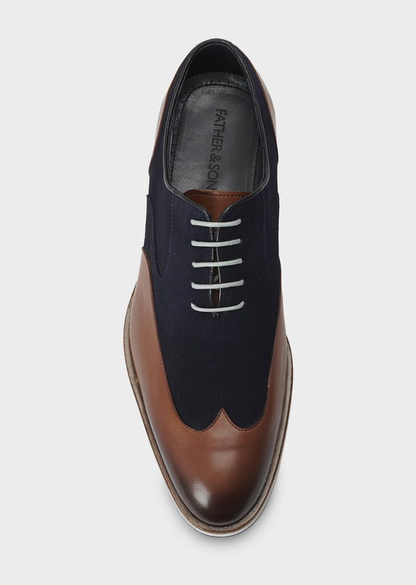 Richelieus en daim bleu et cuir cognac - Father and Sons 5057