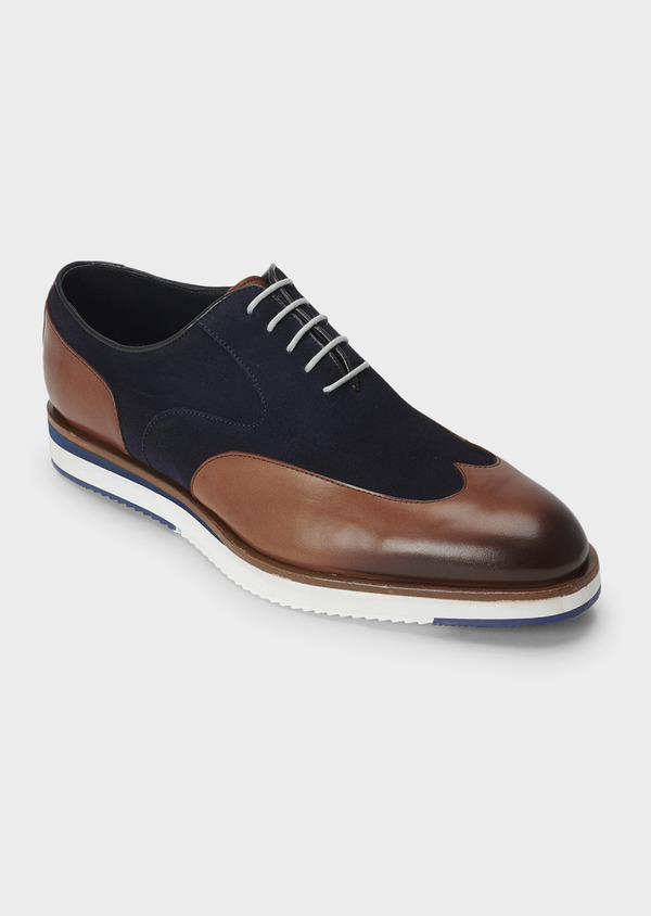 Richelieus en daim bleu et cuir cognac - Father and Sons 5056