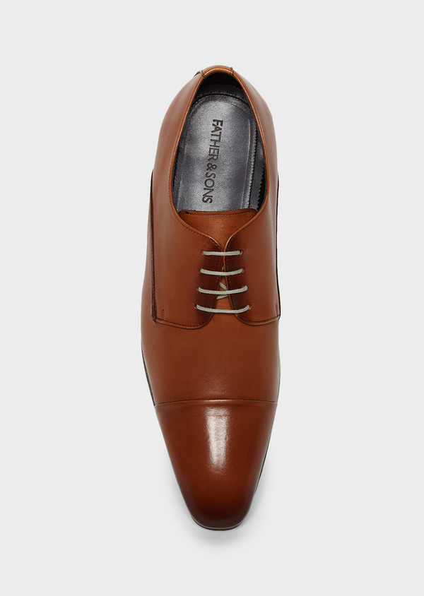 Derbies en cuir lisse marron clair - Father and Sons 8021