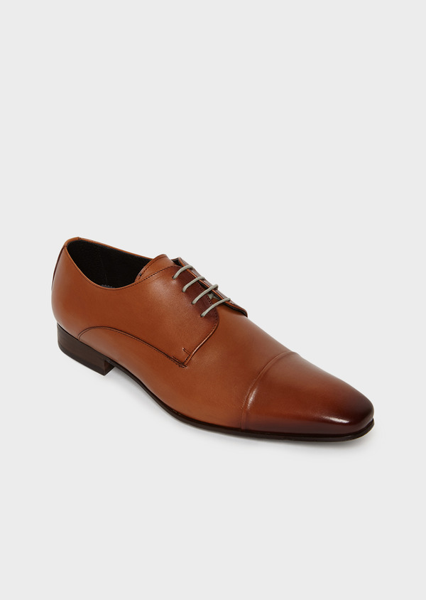 Derbies en cuir lisse marron clair - Father and Sons 8020