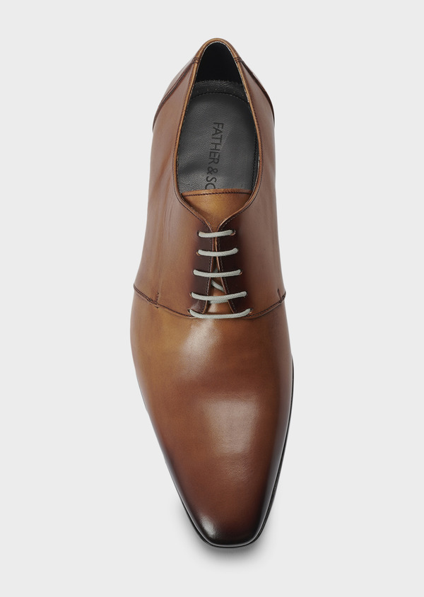 Derbies en cuir lisse cognac | Father and Sons