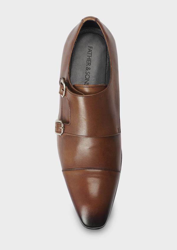 Chaussures à boucles en cuir lisse cognac - Father and Sons 5007