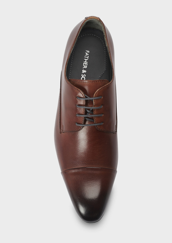 Derbies en cuir lisse marron - Father and Sons 4987