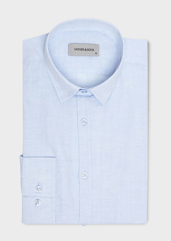 Chemise sport Slim en lin uni bleu ciel à pois - Father and Sons 5434