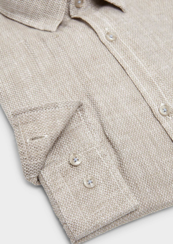 Chemise sport Slim en lin uni beige - Father and Sons 5465