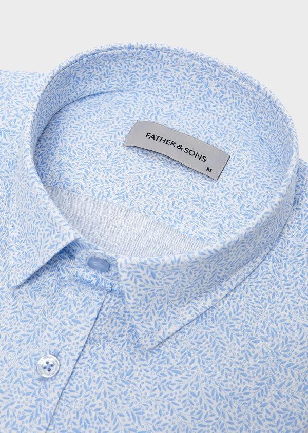 Chemise sport Slim en lin blanc à motifs bleus - Father and Sons 5478