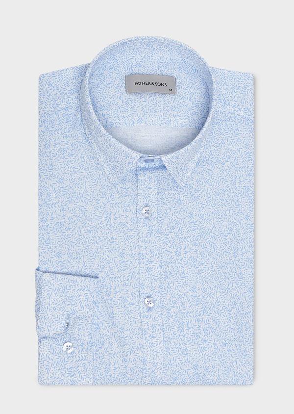 Chemise sport Slim en lin blanc à motifs bleus - Father and Sons 5476