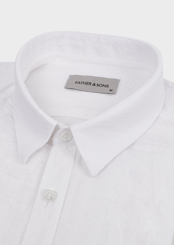 Chemise sport Slim en lin uni blanc - Father and Sons 5471