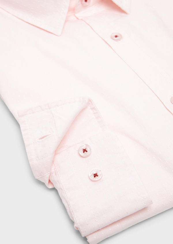 Chemise sport Slim en lin uni rose clair - Father and Sons 5458