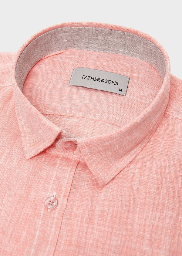 Chemise sport Slim en lin uni corail - Father and Sons 5429