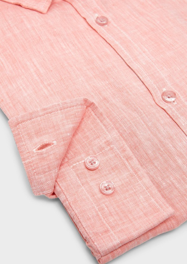 Chemise sport Slim en lin uni corail - Father and Sons 5430