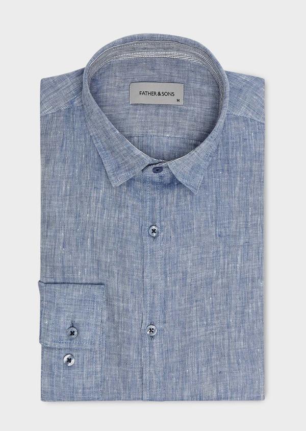 Chemise sport Slim en lin uni bleu jeans - Father and Sons 5441