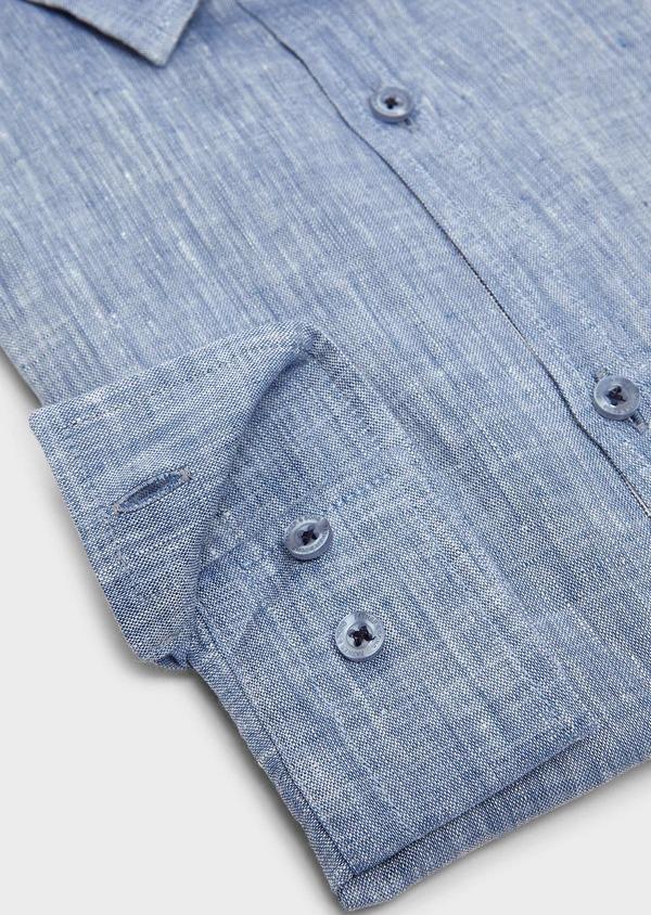 Chemise sport Slim en lin uni bleu jeans - Father and Sons 5444