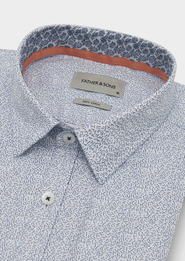 Chemise sport Regular en popeline de coton à motifs fantaisie bleus - Father and Sons 5506