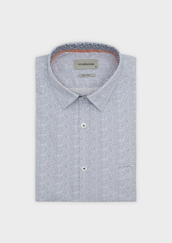 Chemise sport Regular en popeline de coton à motifs fantaisie bleus - Father and Sons 5504