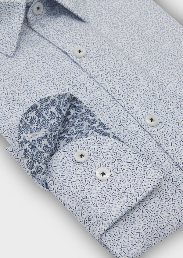 Chemise sport Regular en popeline de coton à motifs fantaisie bleus - Father and Sons 5507