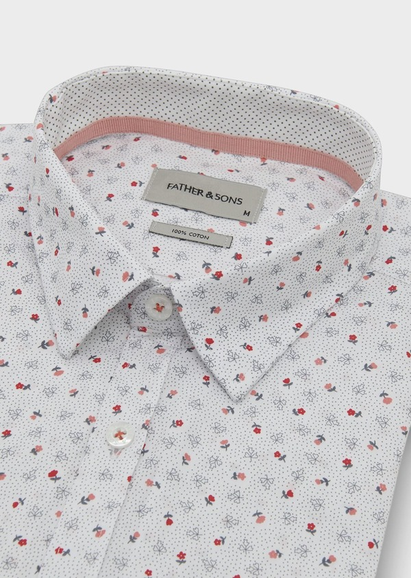 Chemise sport Regular en popeline de coton à motif fleuri corail et gris - Father and Sons 5499