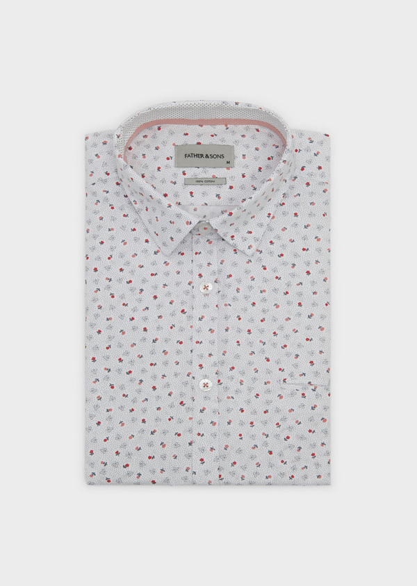 Chemise sport Regular en popeline de coton à motif fleuri corail et gris - Father and Sons 5497