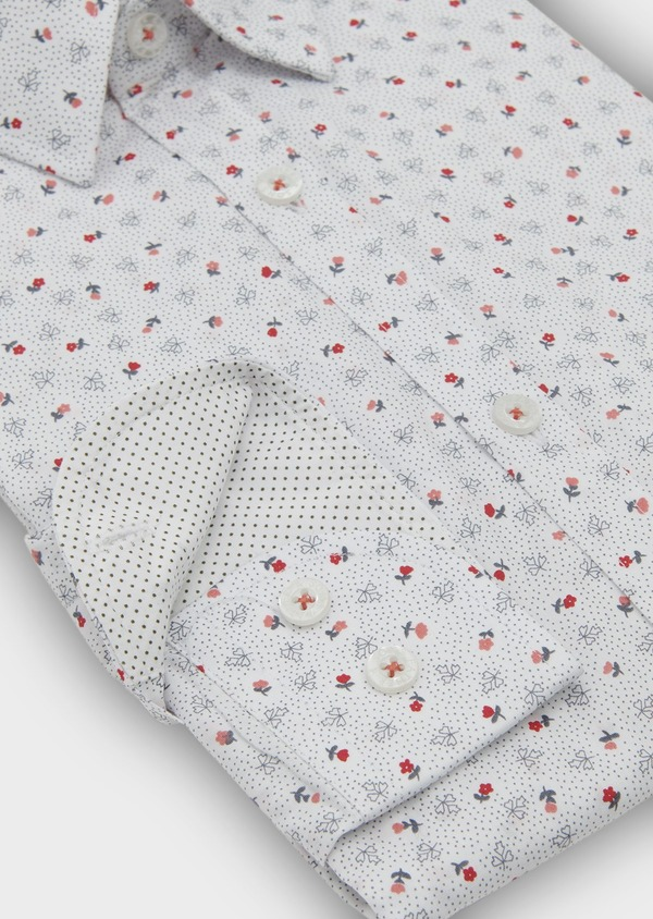 Chemise sport Regular en popeline de coton à motif fleuri corail et gris - Father and Sons 5500