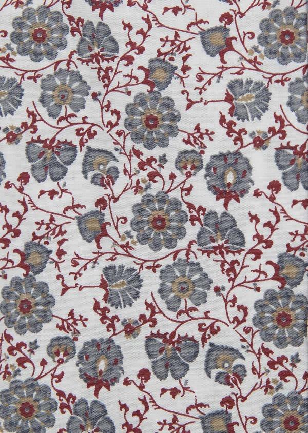 Chemise sport Regular en popeline de coton à motif fleuri rouge et gris - Father and Sons 5512