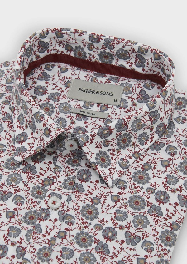 Chemise sport Regular en popeline de coton à motif fleuri rouge et gris - Father and Sons 5513
