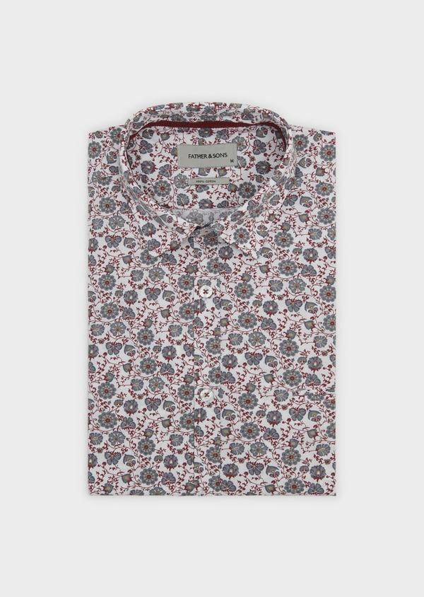 Chemise sport Regular en popeline de coton à motif fleuri rouge et gris - Father and Sons 5511