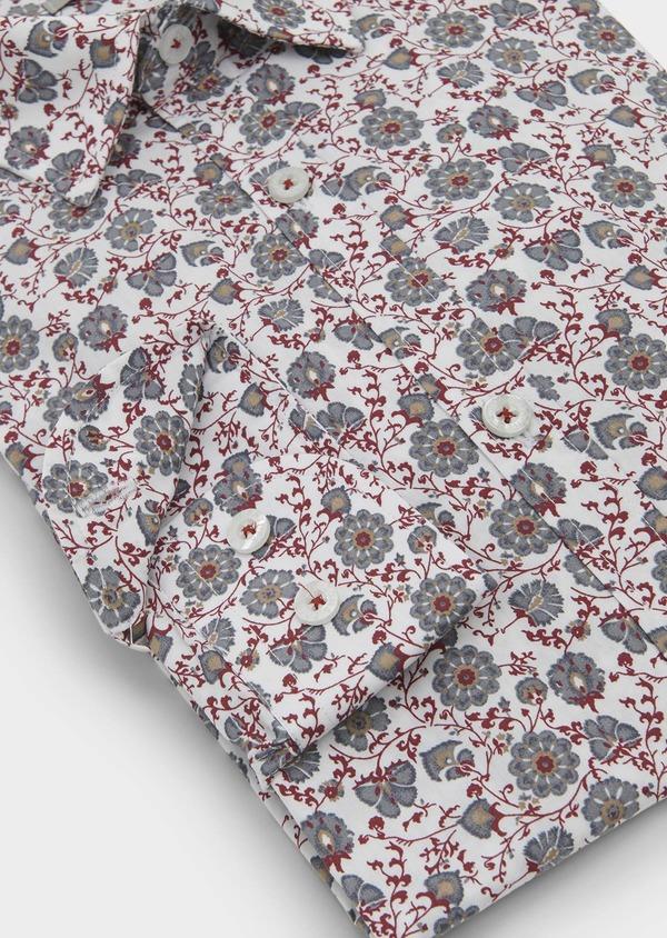 Chemise sport Regular en popeline de coton à motif fleuri rouge et gris - Father and Sons 5514