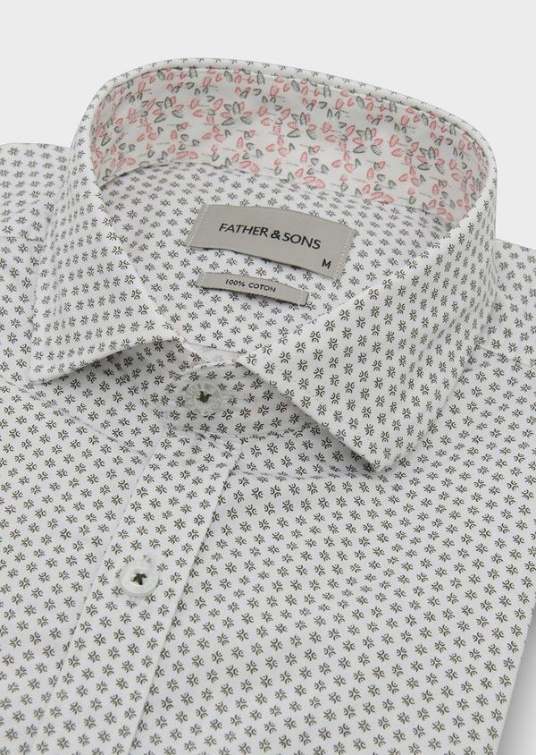 Chemise sport Slim en popeline de coton à motifs fantaisie noirs - Father and Sons 5541