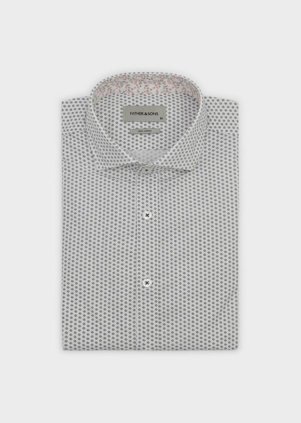 Chemise sport Slim en popeline de coton à motifs fantaisie noirs - Father and Sons 5539