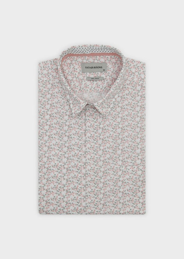 Chemise sport Slim en popeline de coton à motif fleuri orange et vert - Father and Sons 5546