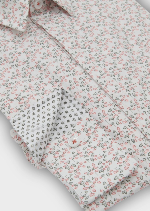 Chemise sport Slim en popeline de coton à motif fleuri orange et vert - Father and Sons 5549