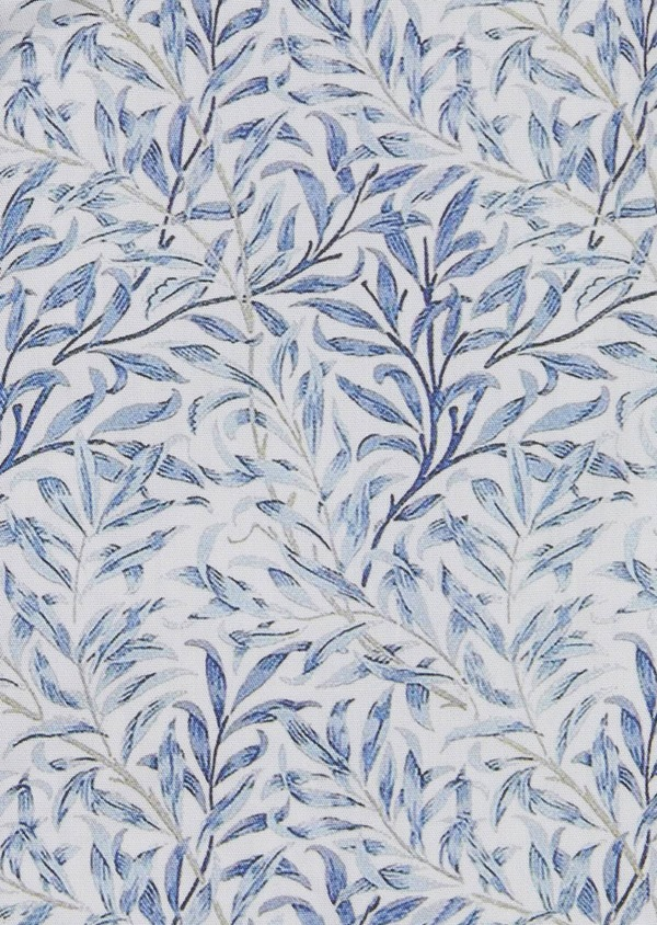 Chemise sport Slim en popeline de coton à motifs feuilles bleues - Father and Sons 5568