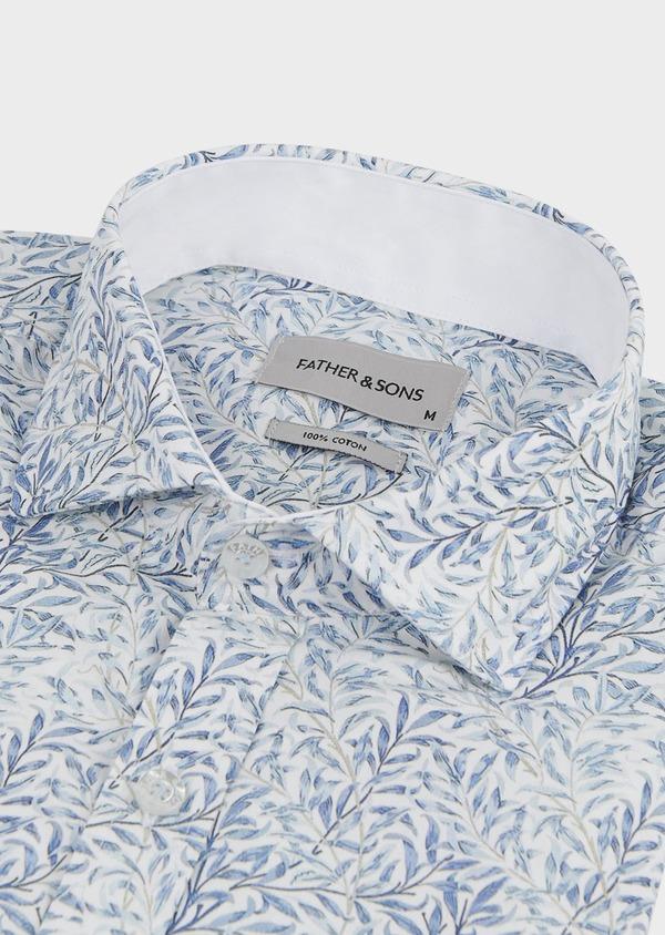 Chemise sport Slim en popeline de coton à motifs feuilles bleues - Father and Sons 5569