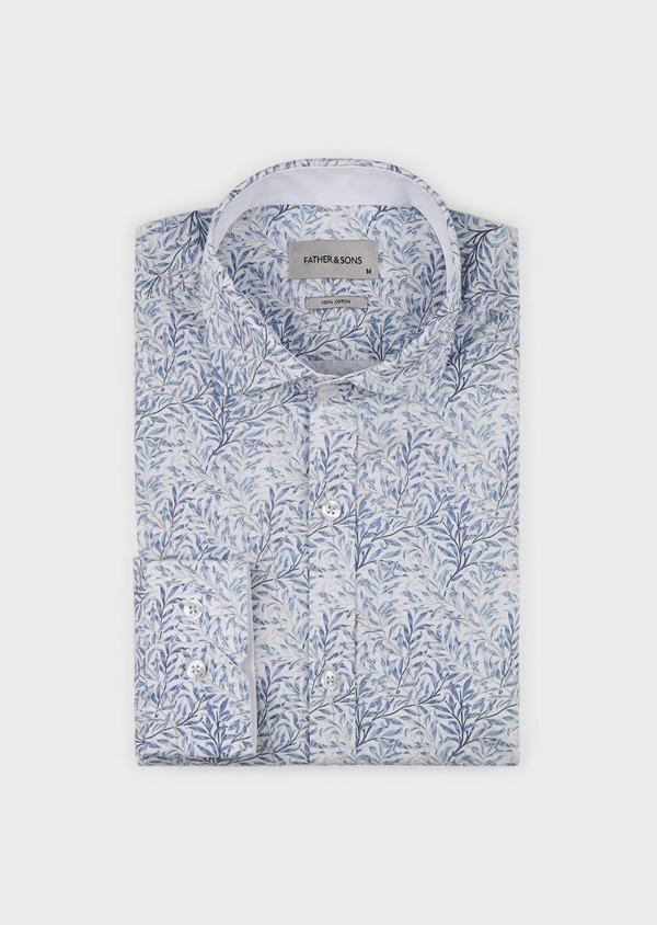 Chemise sport Slim en popeline de coton à motifs feuilles bleues - Father and Sons 5567