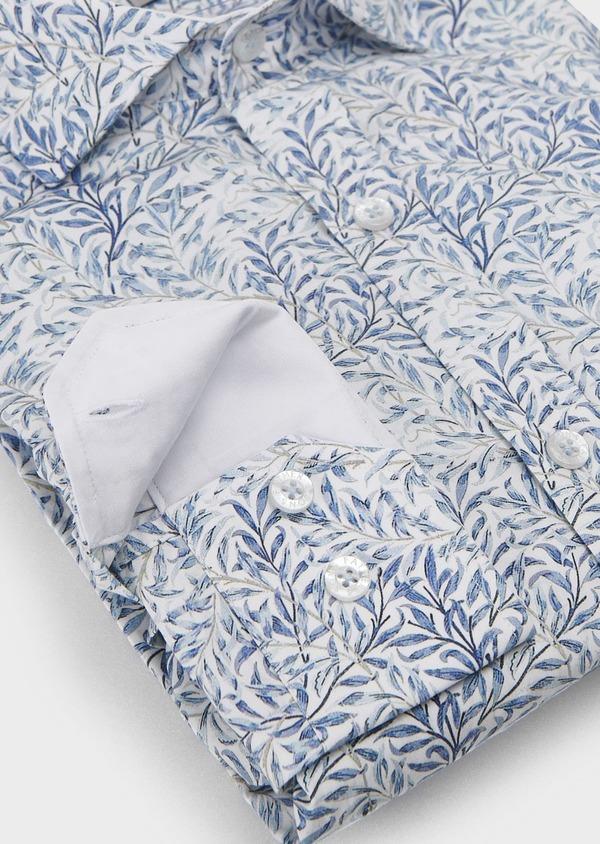 Chemise sport Slim en popeline de coton à motifs feuilles bleues - Father and Sons 5570