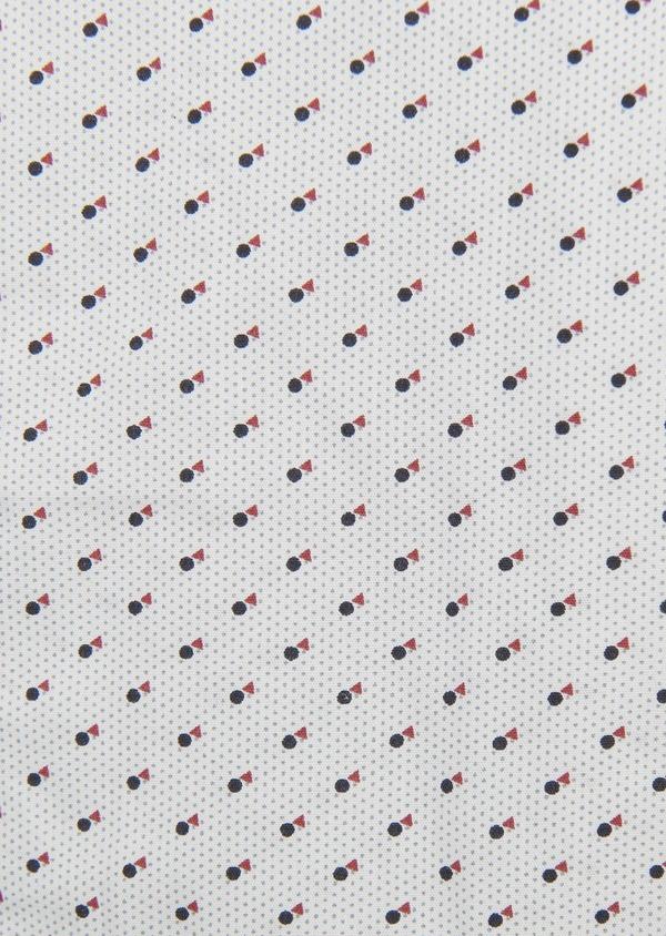Chemise sport Slim en popeline de coton à motifs géométriques noir et rouge - Father and Sons 5589