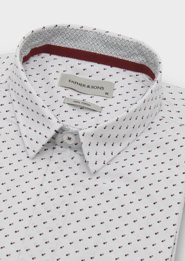 Chemise sport Slim en popeline de coton à motifs géométriques noir et rouge - Father and Sons 5590