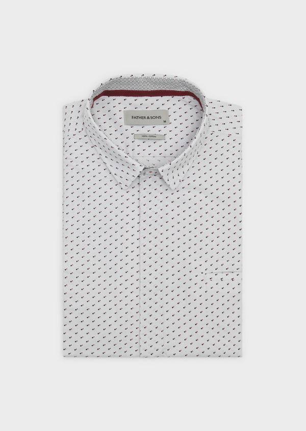 Chemise sport Slim en popeline de coton à motifs géométriques noir et rouge - Father and Sons 5588