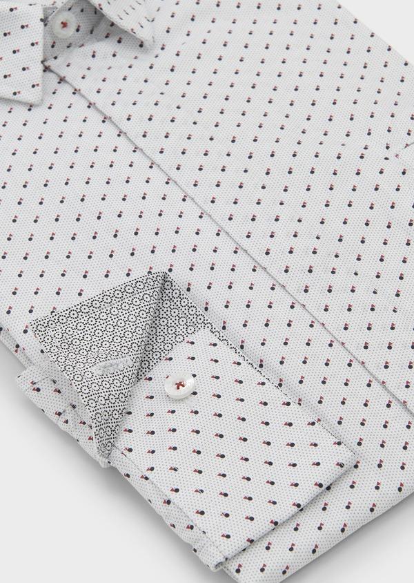 Chemise sport Slim en popeline de coton à motifs géométriques noir et rouge - Father and Sons 5591