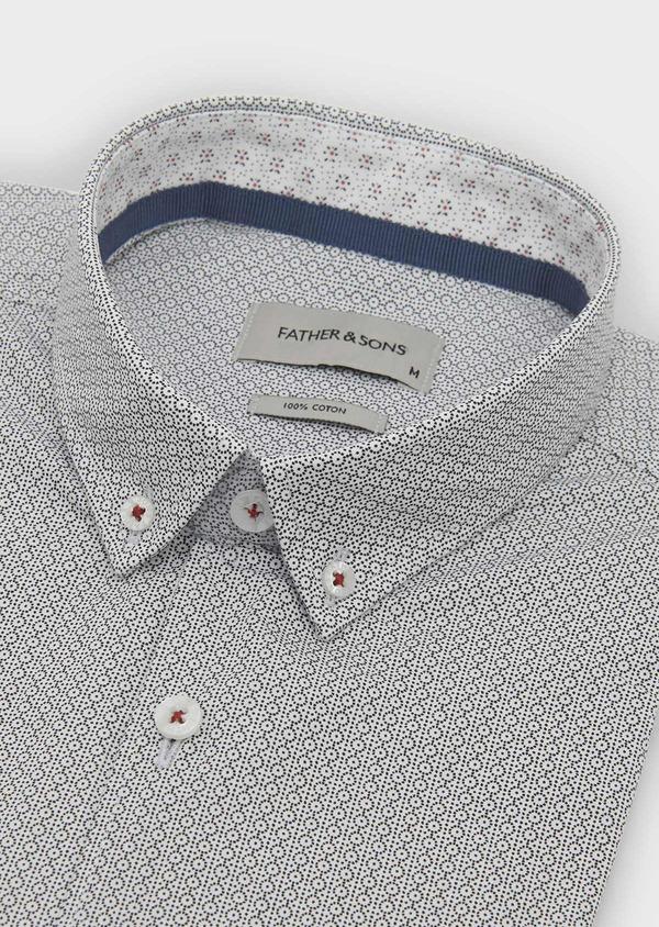 Chemise sport Slim en popeline de coton à motifs noirs - Father and Sons 5597