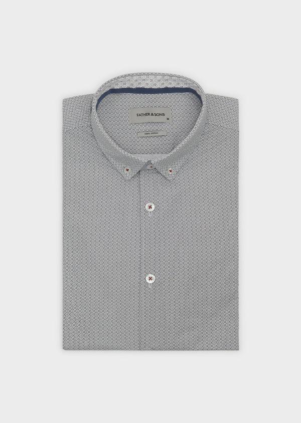 Chemise sport Slim en popeline de coton à motifs noirs - Father and Sons 5595