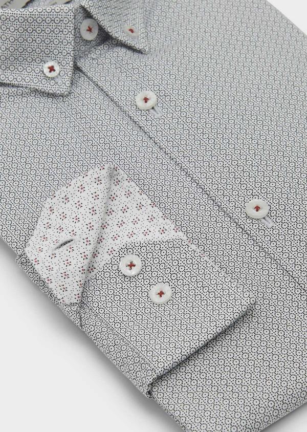 Chemise sport Slim en popeline de coton à motifs noirs - Father and Sons 5598