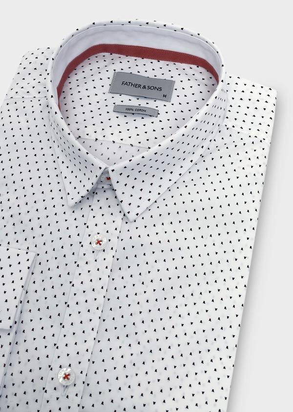 Chemise sport Slim en popeline de coton à motifs fantaisie rose et noir - Father and Sons 5646