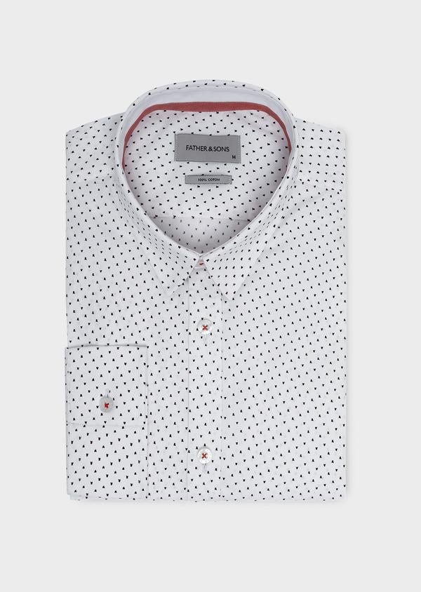 Chemise sport Slim en popeline de coton à motifs fantaisie rose et noir - Father and Sons 5644